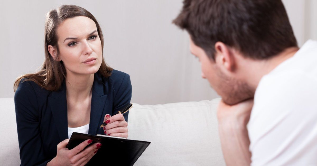 Counseling psychologist with patient